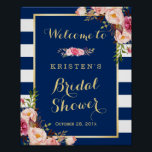"Pink Floral Navy Blue Stripes Bridal Shower Sign<br><div class=""desc"">================= ABOUT THIS DESIGN ================= Pink Floral Navy Blue Stripes Bridal Shower Sign Template. (1) The default size is 8 x 10 inches, you can change it to any size. (2) For further customization, please click the &quot;Customize it&quot; button and use our design tool to modify this template. All text...</div>"