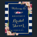 "Pink Floral Navy Blue Stripes Bridal Shower Sign<br><div class=""desc"">Pink Floral Navy Blue Stripes Bridal Shower Sign Template. (1) The default size is 8 x 10 inches, you can change it to a larger size. (2) For further customization, please click the &quot;customize further&quot; link and use our design tool to modify this template. (3) If you need help or...</div>"