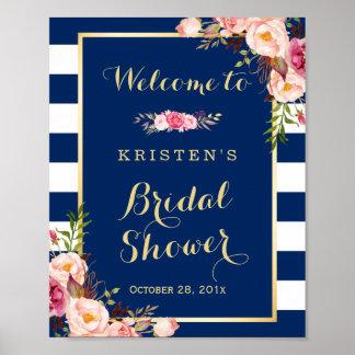 Pink Floral Navy Blue Stripes Bridal Shower Sign Poster