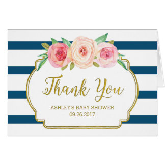 Pink Floral Navy Stripes Baby Shower Thank You Card