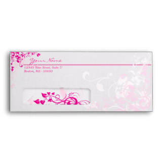 Pink Floral No 10 Envelopes with Windows
