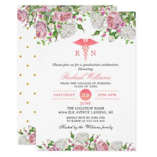 Pink Floral Nursing School Graduation Party Card