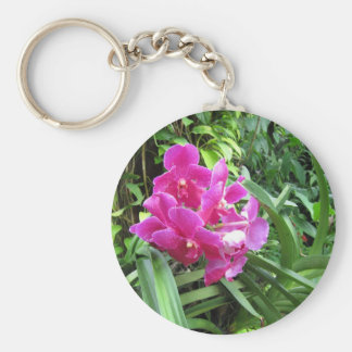 Pink floral on rich greenery key chains