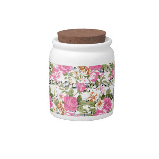 Pink Floral on Sheet Music Candy Dish