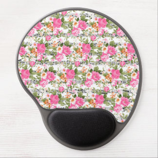 Pink Floral on Sheet Music Gel Mouse Pad