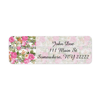 Pink Floral on Sheet Music Label