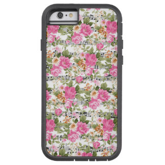 Pink Floral on Sheet Music Tough Xtreme iPhone 6 Case