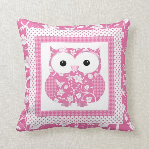 Pink Floral Owl.jpg Throw Pillow Zazzle