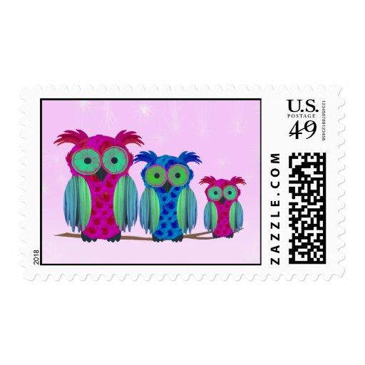 Pink Floral Owls Postage Stamps