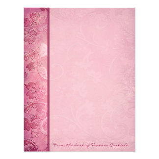 Pink Floral Paisley Personalized Letterhead