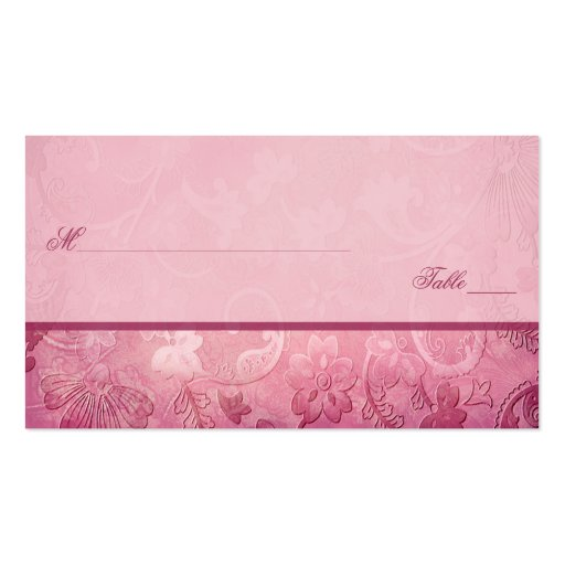 Pink Floral Paisley Placecards Business Card