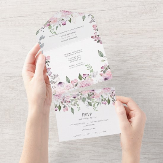 Pink Floral Paradise All In One Invitation