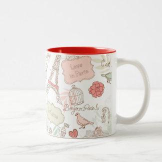 pink Floral Paris Eiffel Tower Two-Tone Coffee Mug
