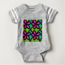 pink floral pattern baby bodysuit