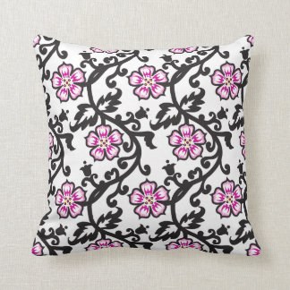 Pink Floral Pattern,Black and White Throw Pillow