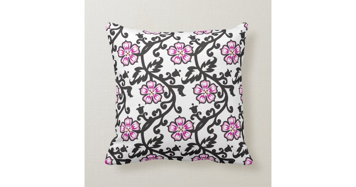 Pink Floral Pattern,Black and White Throw Pillow Zazzle
