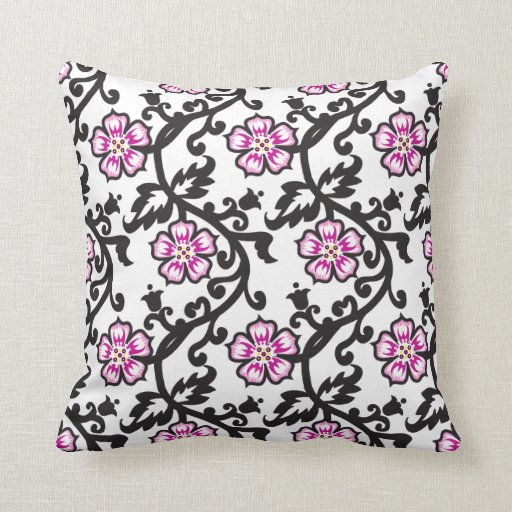 Pink Floral Decorative Pillows : Pink Floral Pattern,Black and White Throw Pillow Zazzle