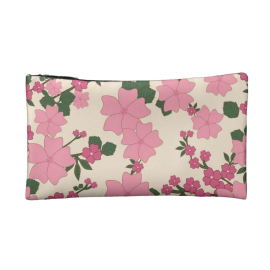 Pink Floral Pattern Cosmetic Bag