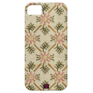 Pink Floral Pattern Cross-Stitch Design iPhone SE/5/5s Case
