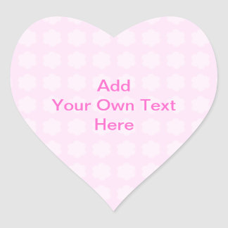 Pink Floral Pattern. Custom Pink Text. Heart Sticker