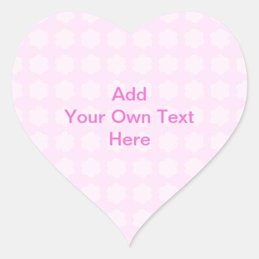 Pink Floral Pattern. Custom Pink Text. Heart Sticker