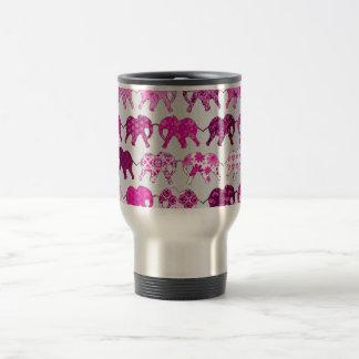 Pink Floral Pattern Elephants 15 Oz Stainless Steel Travel Mug