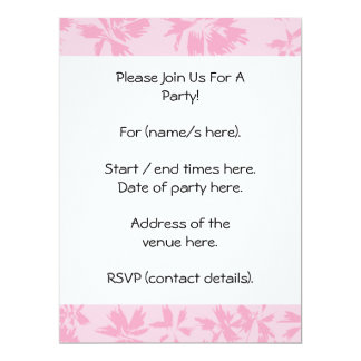 Pink floral pattern. 6.5x8.75 paper invitation card