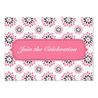 Pink Floral Pattern Invitation Card Any Occasion