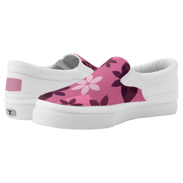 pink floral pattern printed shoes zazzle