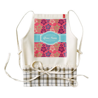 Pink Floral Pattern with Aqua Personalized Name Zazzle HEART Apron