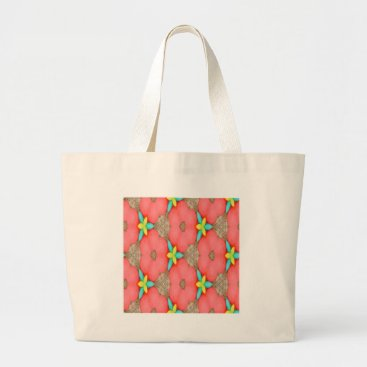 Wedding Themed Pink floral Pattern with Yellow accent basketweave Large Tote Bag