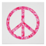 Pink Floral Peace Poster