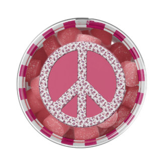 Pink Floral Peace Symbol for World Peace Chewing Gum Favors