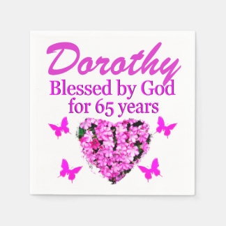 PINK FLORAL PERSONALIZED 65TH BIRTHDAY NAPKINS