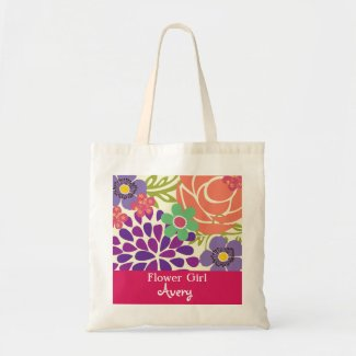 Pink Floral Personalized Bridal Wedding Tote Bag
