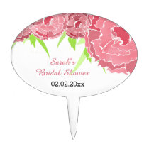 pink floral Personalized Cake Picks