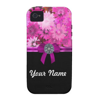 Pink floral personalized Case-Mate iPhone 4 cases