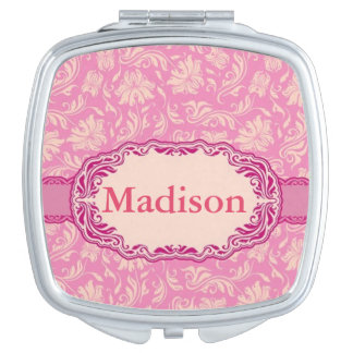 Pink Floral Personalized Compact Mirror