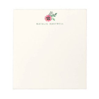 Pink Floral Personalized Cream Notepad