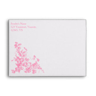 Pink floral personalized envelope Wedding set