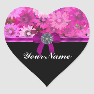 Pink floral personalized heart sticker