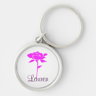Pink Floral Personalized Keychain
