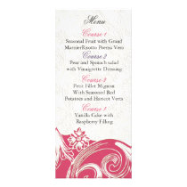 pink floral Personalized Menu cards