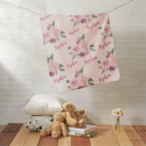 Pink Floral Personalized Name blankets