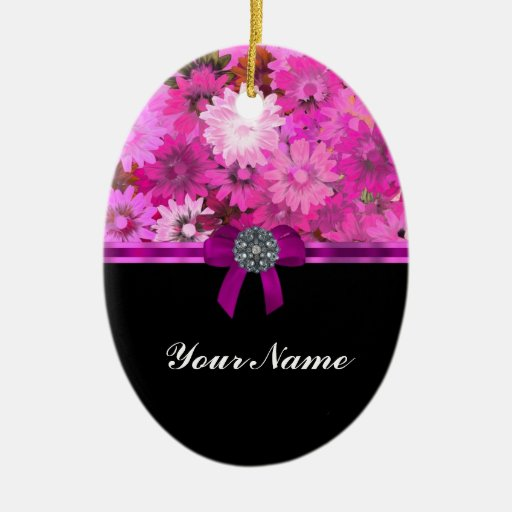 Pink floral personalized Double-Sided oval ceramic christmas ornament