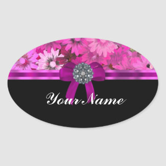 Pink floral personalized oval sticker