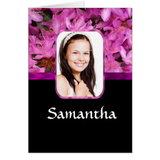 Pink floral personalized photo card