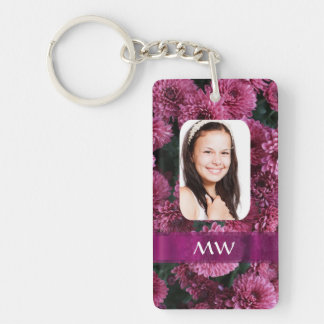 Pink floral personalized photo keychain