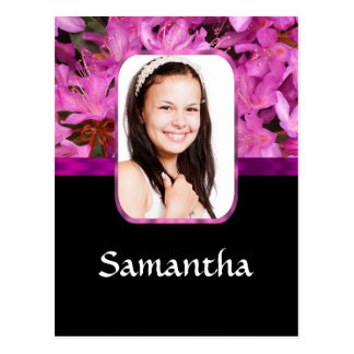 Pink floral personalized photo postcard