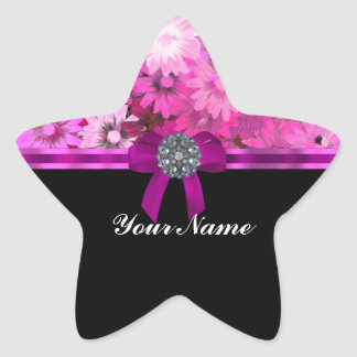 Pink floral personalized star sticker